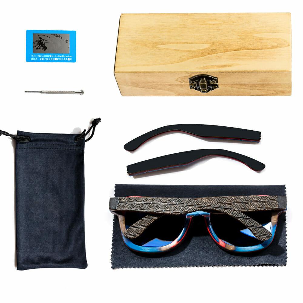 2cd8191a3d Skateboard Wood Bamboo Sunglasses for Men or Women Polarized Lenses  Wayfarer Style