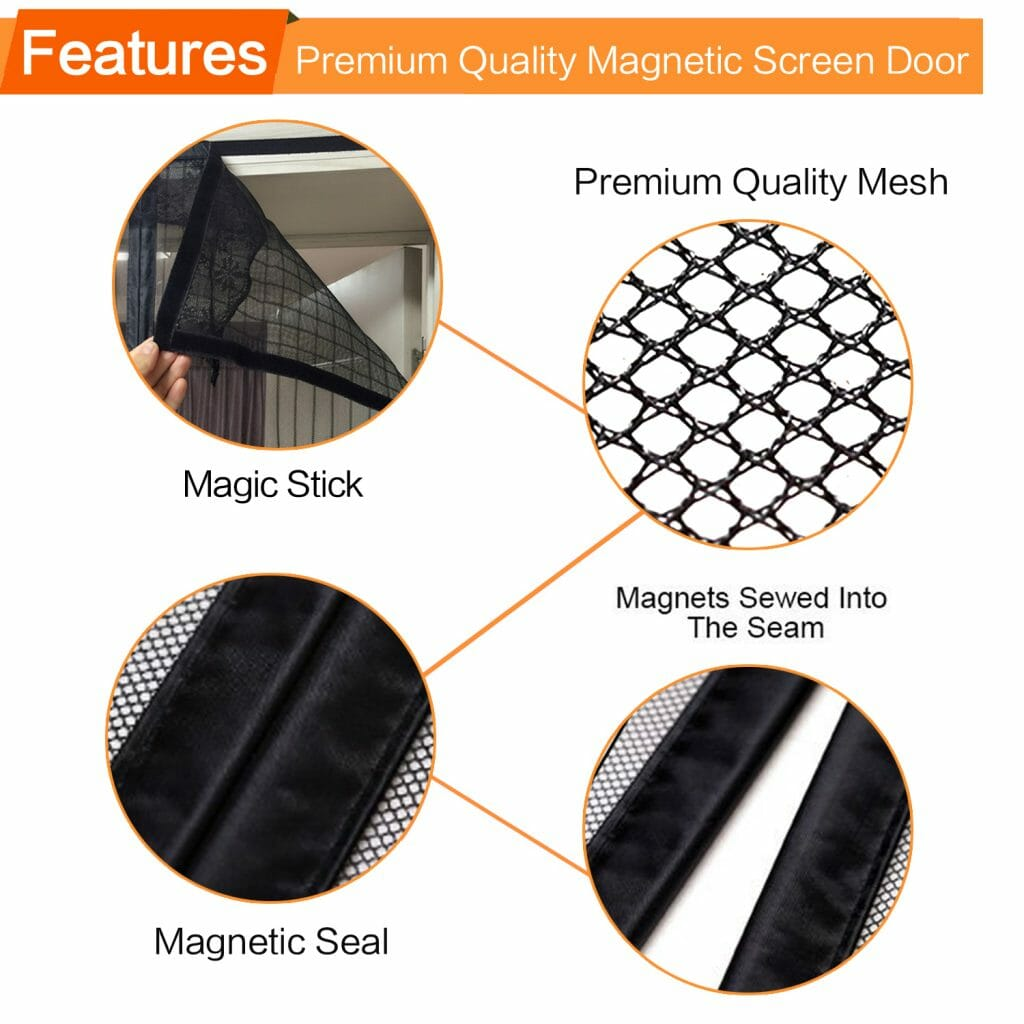Allezola Magnetic Screen Door With Heavy Duty Mesh Curtain And Full
