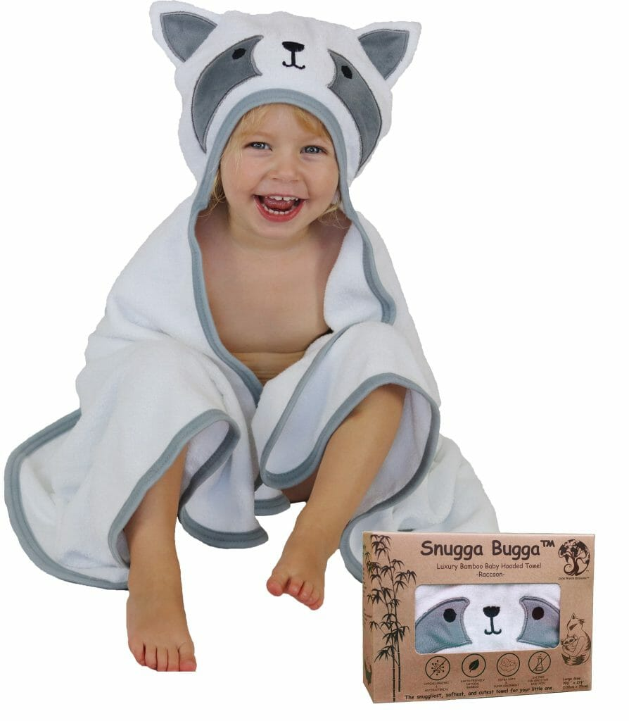 luxury bamboo raccoon hooded baby towel – product testing group