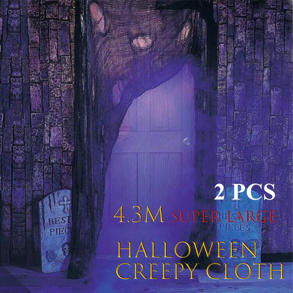 2PCS Halloween Creepy Cloth, With 2 Spider Web Decorations